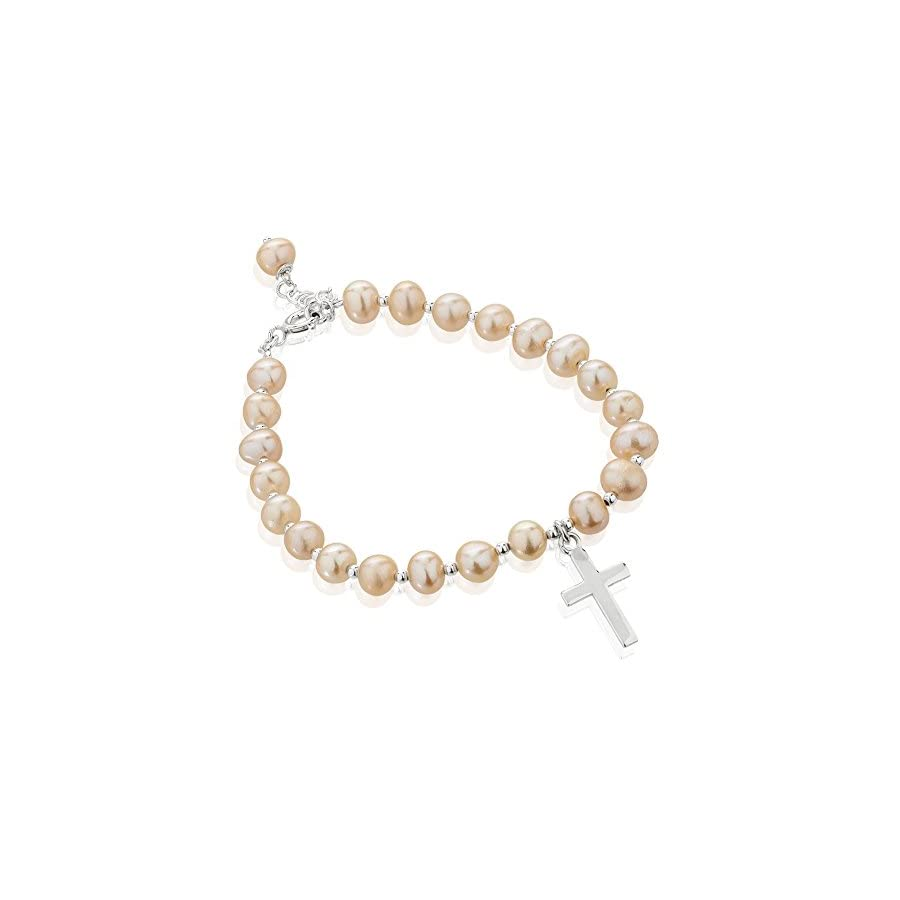 925 Sterling Silver and Dyed Cultured Freshwater Pearl Christian Cross Charm Strand Bracelet