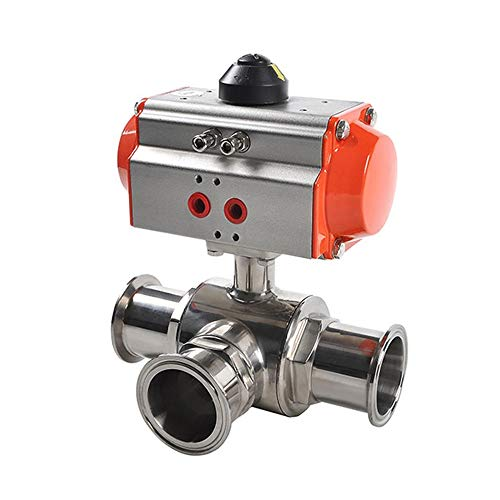 Fincos Spring Return 1/2'' Sanitary Pneumatic Tri Clamp Ball Valve Three Ways Stainless Steel 304 Single Acting Pneumatic Ball Valve