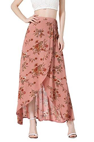 Wear Wrap Around Skirt (Pink Wind Girls Sexy Lace-up Waist Bohemia Peony Printing Long Skirt M Pink Red)