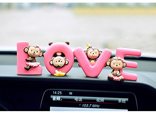 Monkey Dolls Figurine Set Dashboard Decoration Home Decor (LOVE)