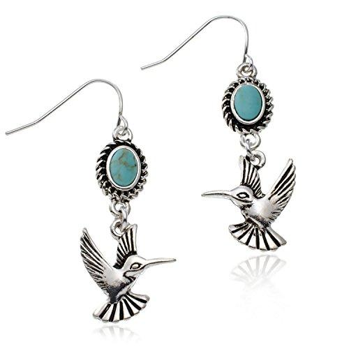 PammyJ Silvertone Small Hummingbird and Imitation Turquoise Earrings