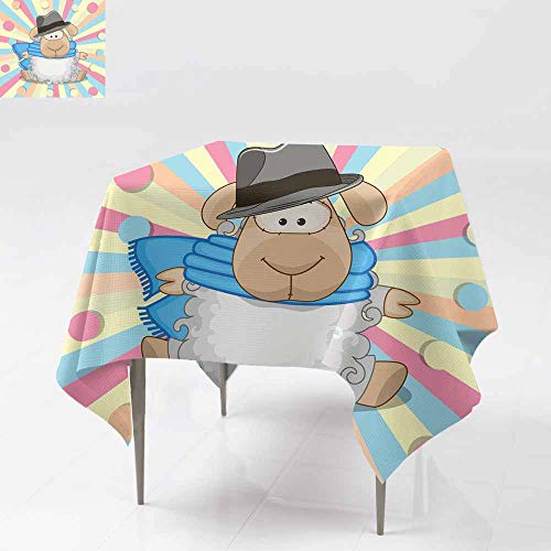 (AFGG Indoor/Outdoor Square Tablecloth,Sheep with hat,for Events Party Restaurant Dining Table Cover 60x60 Inch)
