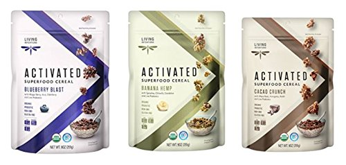 Blast Banana (Living Intentions Gluten Free Superfood Probiotic Cereal 3 Flavor Variety Bundle: (1) Blueberry Blast, (1) Banana Hemp, and (1) Cacao Crunch, 9 Oz. Ea. (3 Bags))