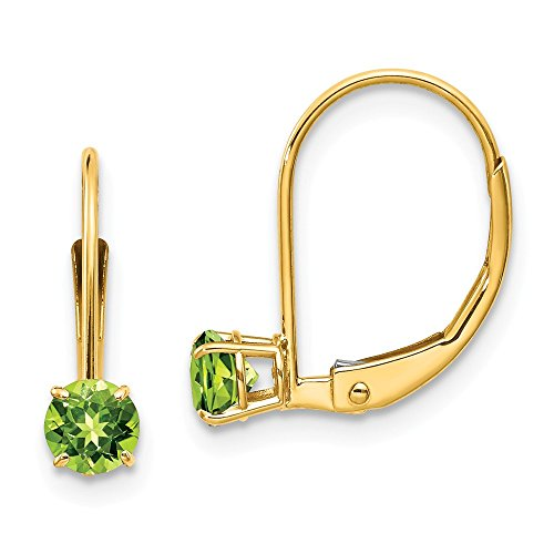 (14k Yellow Gold 4mm Round August/peridot Leverback Earrings Lever Back Drop Dangle Birthstone August Fine Jewelry Gifts For Women For Her)