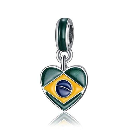 World's Natural Treasures 1 Brazilian Brazil Heart Flag Silver Charms Beads for European Charm Bracelets
