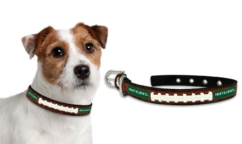 NCAA Miami Hurricanes Classic Leather Football Collar, Small