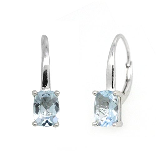 BL Jewelry Sterling Silver Genuine Natural Aquamarine Leverback Earrings (Cushion)