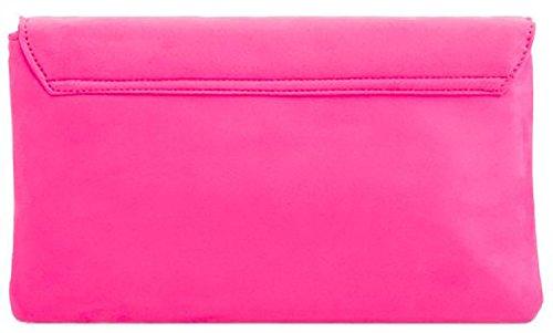 Ladies Clutch Bag Fold Evening Kalani Nacre Envelope Designer Fuschia Floral PW0X8