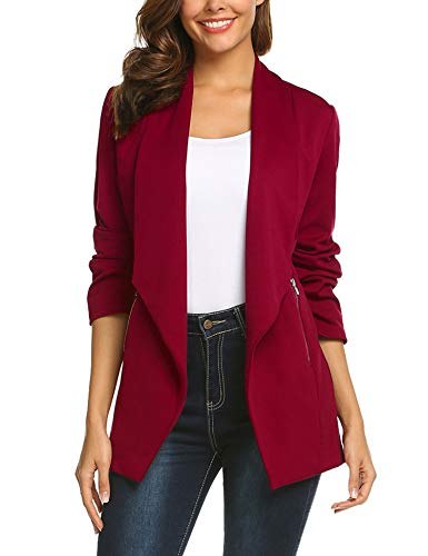 ELESOL Women's Junior Long Sleeve Office Blazers One Button Jacket Slim Suits Wine Red/M