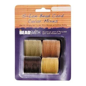 4 Spools Super-lon #18 Cord Ideal for Stringing Beading Crochet and Micro-macram Jewelry Compatible with Kumihimo Projects S-lon Wheat Mix ()