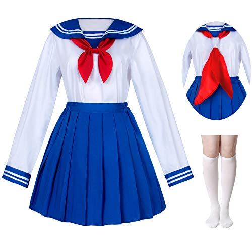 Japanese School Girls Sailor JK Uniform Bule Pleated Skirt Anime Cosplay Costumes with Socks Set(SSF31) S ()