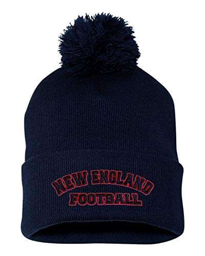 Go All Out One Size Navy Adult New England Football Embroidered Knit Beanie Pom Cap