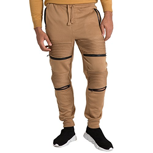 - Vibes Mens Fleece Jogger Pant Double Moto Patch & Zipper Knee Trim Rib Cuff & Waist Size M Brown