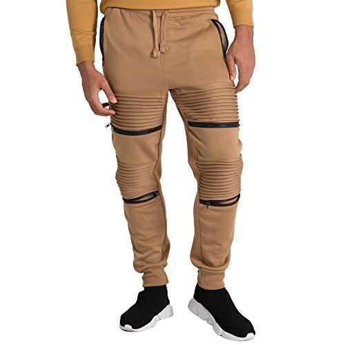 Vibes Mens Fleece Jogger Pant Double Moto Patch & Zipper Knee Trim Rib Cuff & Waist Size L Brown