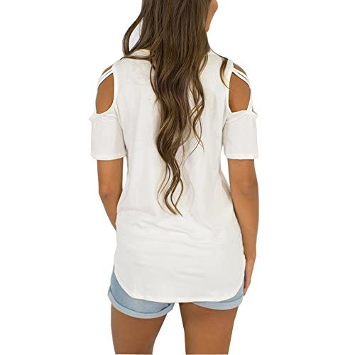 e9bee5729891a1 Adreamly Womens Loose Strappy Cold Shoulder Tops Basic T Shirts ...