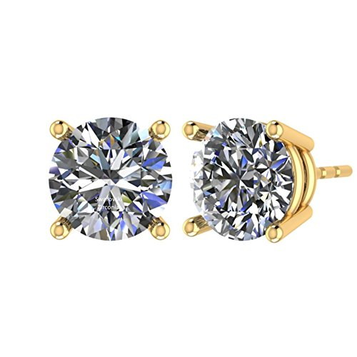 NANA Stud Earrings-Sterling Silver Round Cut Swarovski Zirconia 9.0mm (5.00cttw) Yellow Gold Plated