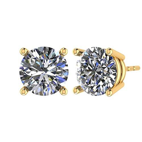 NANA Stud Earrings-Sterling Silver Round Cut Swarovski Zirconia 9.0mm (5.00cttw) Yellow Gold - Mounts Settings Earring