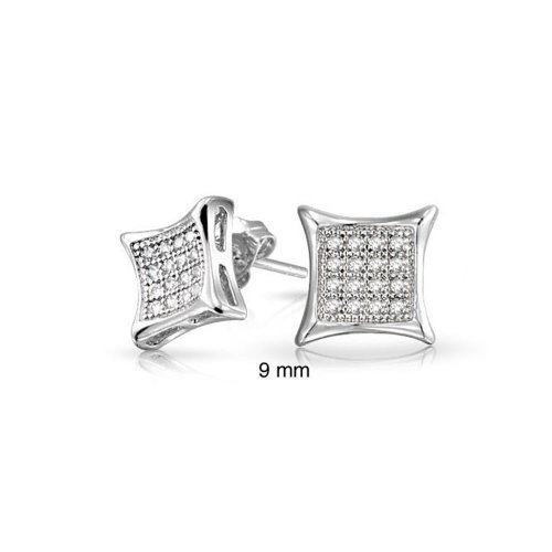 - Mens Womens Square Shaped Cubic Zirconia Micro Pave CZ Kite Stud Earrings 925 Sterling Silver 9MM