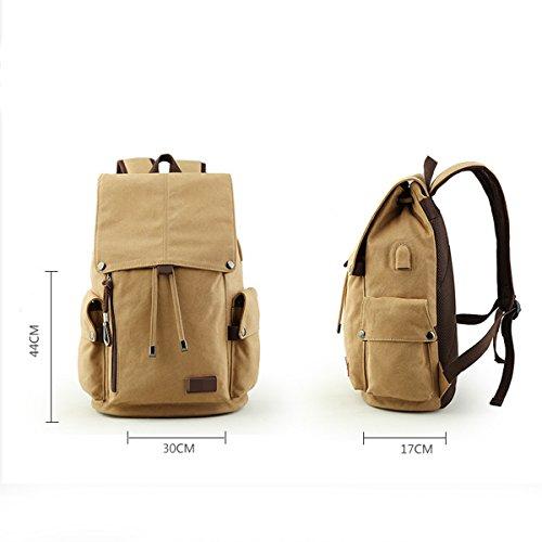 Freizeit Mode Leinwand Reisetaschen Trends Student Taschen Taschen-Computer Tragbares Outdoor Rucksack,Blue Brown