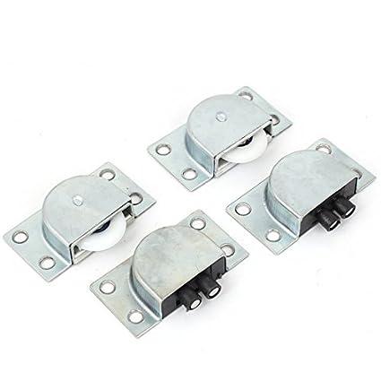 eDealMax armario ropero sola rueda corrediza puerta del rodillo de plata del tono 4 pares