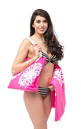 Set Beach Bags Pool Tote For Towel Flip Womens 46 Beach PLUS Shopper cms 50 33 PLUS Bag Summer Flops Piece Ladies Towels 3 The 150 BLACK 6 For Pink Pattern MED Beach UK5 Girls x x cms Features Floral UwWBAHSqB