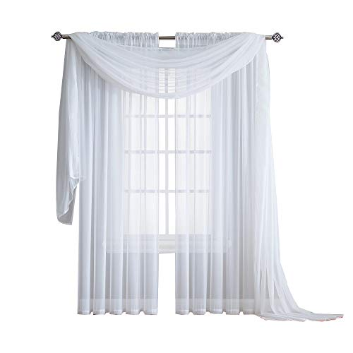 - Warm Home Designs Standard Length White Sheer Window Scarf. Valance Scarves are 56 X 144 Inches in Size. Great As Window Treatments, Bed Canopy Or for Decorative Project. Color: White 144