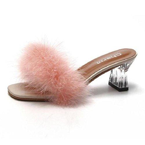 EU39 Plein Mode en Pink Épais Talon CN39 De Xy® Cool Taille Air Femme D'été Pantoufles Flip Pink Flop Poilu Couleur Mi Sandales UK6 Talon n4xx08fqRz