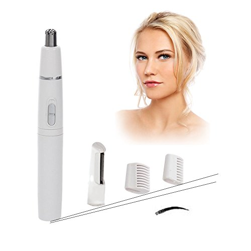 Yuccer Facial Hair Trimmer for Women Men, Painless Electric Body Shaver Razor with Pivoting Head for Nose, Eyebrows (Battery not Included )