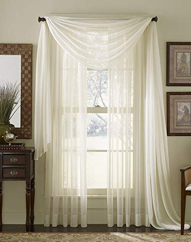 Ivory Voile - HLC.ME Ivory Sheer Voile Window Curtain Swag Scarf - Valance - Fully Stitched and Hemmed - 55 x 216 inch Long