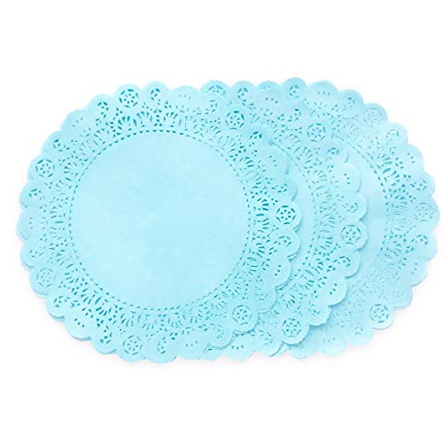 25 Pack -10 inch Pastel SKY BLUE Paper Lace Color DOILIES | Individually Quality Hand Dyed For Wedding, Baby Shower and Party Event Table Decor | Use as Elegant Plate Charger Placemats, Invitations ()