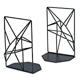 Heavy Duty Bookends Black, Metal Book Ends Supports for Shelves, Unique Geometric Design by RooLee, Nonskid