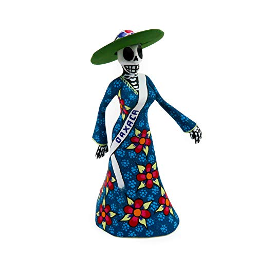 Viva Mexico Dia De Los Muertos Day Dead Catrina Skeleton Oaxacan Alebrije Wood Carving Folk Art -