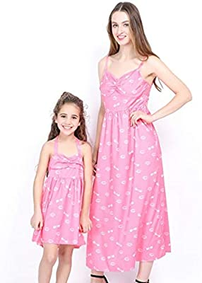 Mommy and Me Family Matching Dress Mother Daughter Solid Sundress for Kid Women