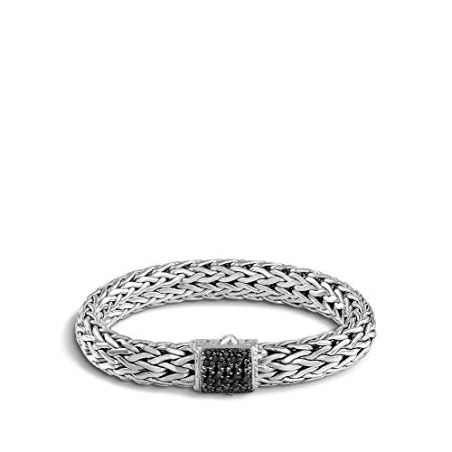 John Hardy Women's Classic Chain 10.5mm Silver Lava Large Bracelet with Black Sapphire Medium ()