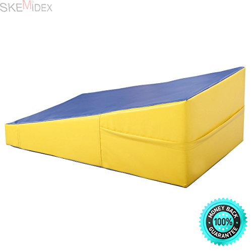 SKEMIDEX Incline Gymnastics Mat Wedge Ramp Gym Sports Exercise Aerobics Tumbling Non-toxic and tasteless PVC cover and EPE pearl foam insideSuitable incline angle for comfortable exercise by SKEMIDEX