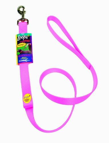 Loops 2 Double Handle Nylon Leash, 6-Foot, Pink, My Pet Supplies