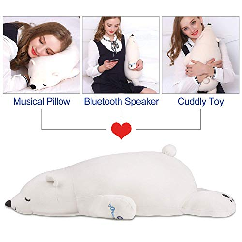 Ophanie Stuffed Animal Polar Bear Plush Toy, Musical Plush Pillow with Bluetooth Speaker; Unique Birthday Gifts for Kids, Girls & Boys