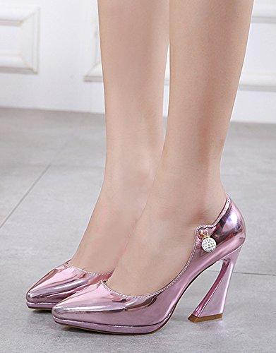 Aisun Femmes Élégant Coupe Basse Bout Pointu Plateforme Glisser Sur Des Chaussures À Talons Hauts Chaussures De Fête De Mariage Rose