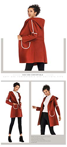 Mujer Outerwear Bolsillos Elegante Manga Moda Gabardina Abrigo Sólidos Parka Cómodo Hooded Joven Colores Casuales Primavera Brown Otoño Windbreaker Larga Casual Con Mujeres RIwcgxdqZ