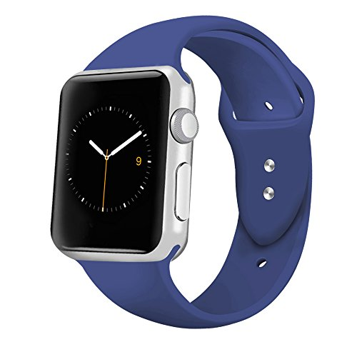 iGK Sport Band Compatible for Apple Watch 42mm, Soft Silicone Sport Strap Replacement Bands Compatible for iWatch Apple Watch Series 3, Series 2, Series 1 42mm Blue Large