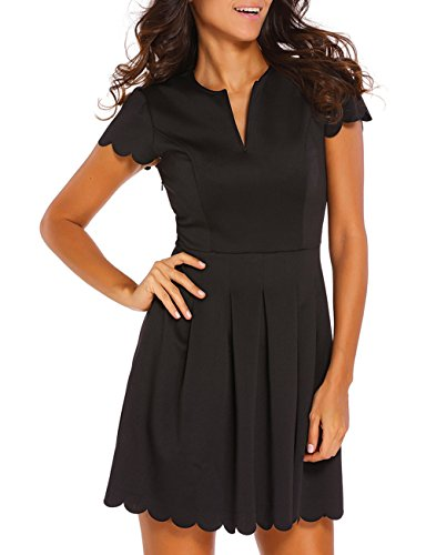 Sidefeel Women Sweet Scallop Pleated Vintage Ruched Dress Large Black (Pleated Sweet)
