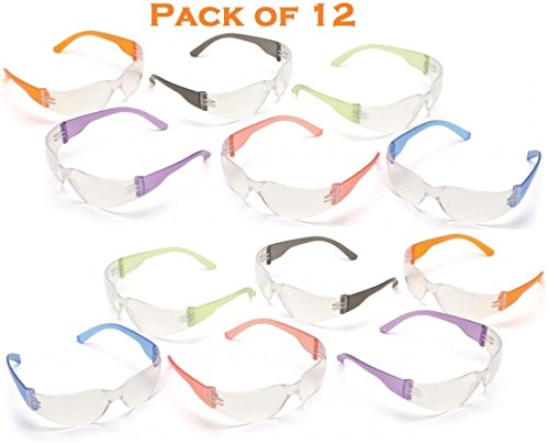 Safety Eyewear UV Protection Glasses By Tuff America - Clear Lens & Colored Temple -Pack Of - Glasses Rays Colored