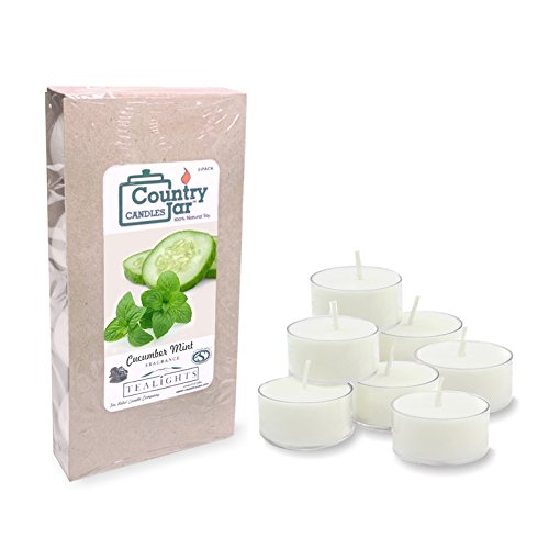 Cucumber Mint Candle Scent - Country Jar CUCUMBER MINT Soy Tea Lights - (8-Pack) Candles Made with PREMIUM USA Grown Natural SuperSoy Wax