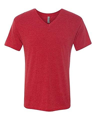 Next Level Men's Tri-Blend Ribbed Knit V-Neck T-Shirt, Vintage Red, X-Large (Next Level Tri Blend V)