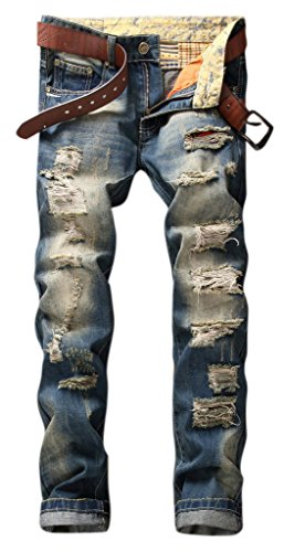 OKilr Pjik Men's Retro Dark Blue Straight Fit Distressed Destructed Ripped Washed Jeans 36
