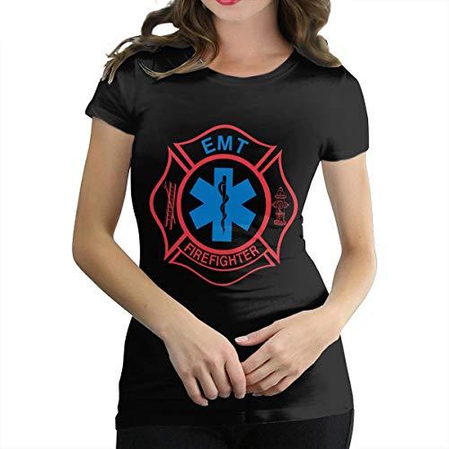 Women Cotton Short Sleeve Tee EMT Firefighter Maltese Cross