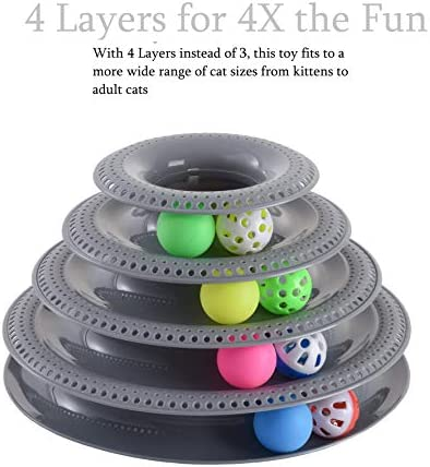 Pets Furst Cat Toys Interactive, Tower of Tracks Kitten Toys, 4 Balls with Bells, 4 Regular Balls, Modern Colors Available, Interactive Cat Toys, 1 Year Warranty 3