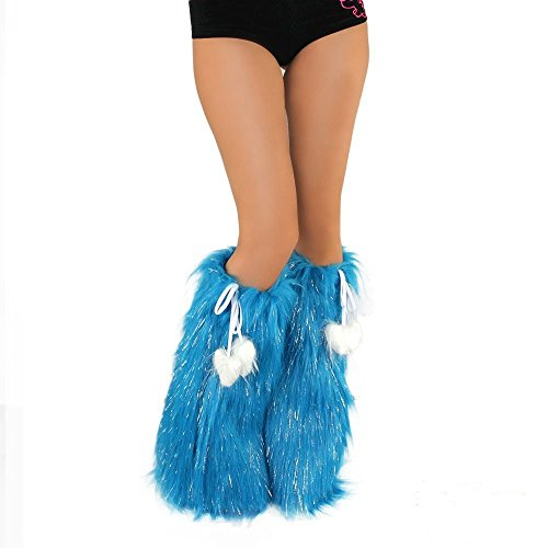 [iHeartRaves Fluffy Leg Warmers - Rave GoGo Fluffies (Sparkle Turquoise), 40 inches in diameter at the top, fitting most] (Furry Rave Boots)