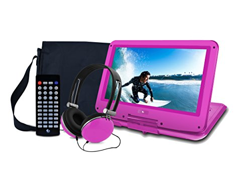 Ematic Portable DVD Player with 12-inch LCD Swivel Screen, Travel Bag, Headphones and Remote Control, Pink