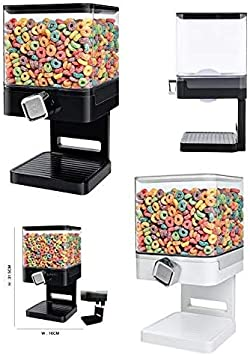 Black Single Big Cereal Dispenser Airtight Clear Container with Built in Spill Tray for Dry Food Black Single Air Tight for Fresh Clean Storage Breakfast Cereal,Pets Food,Candy /& Meals